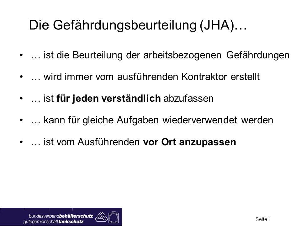 Die Gefährdungsbeurteilung (JHA)…
