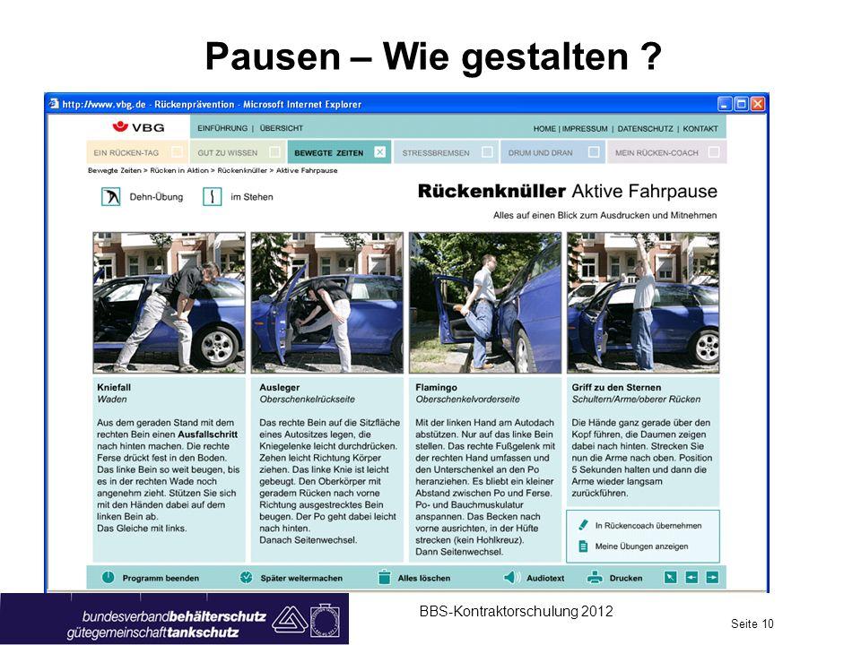 Pausen – Wie gestalten BBS-Kontraktorschulung 2012