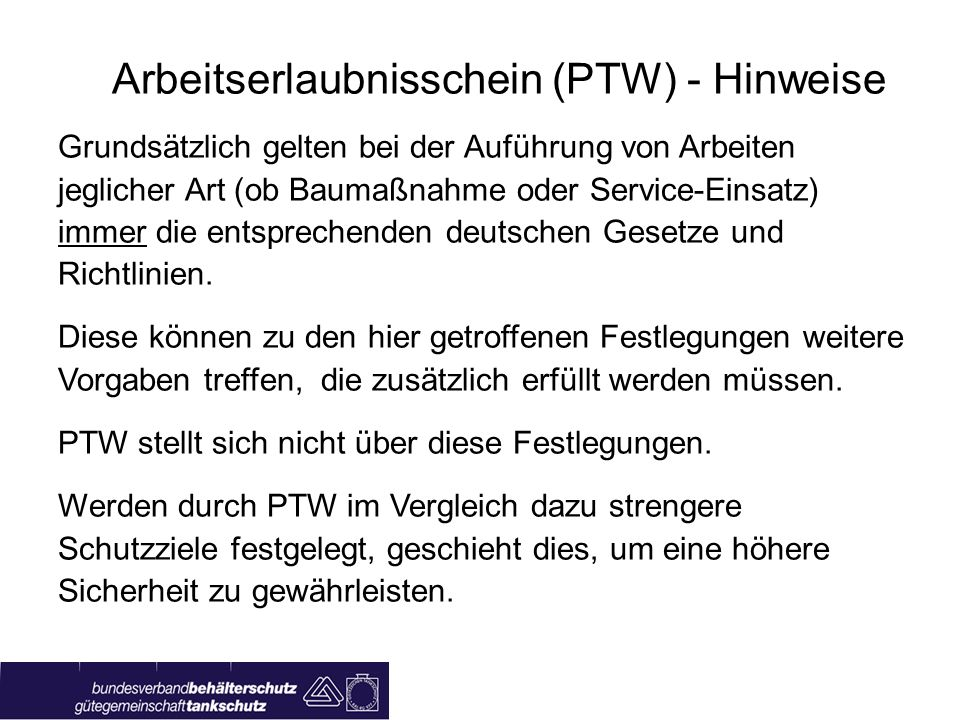 Arbeitserlaubnisschein (PTW) - Hinweise