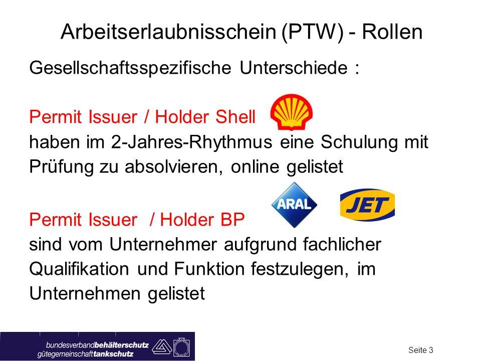 Arbeitserlaubnisschein (PTW) - Rollen