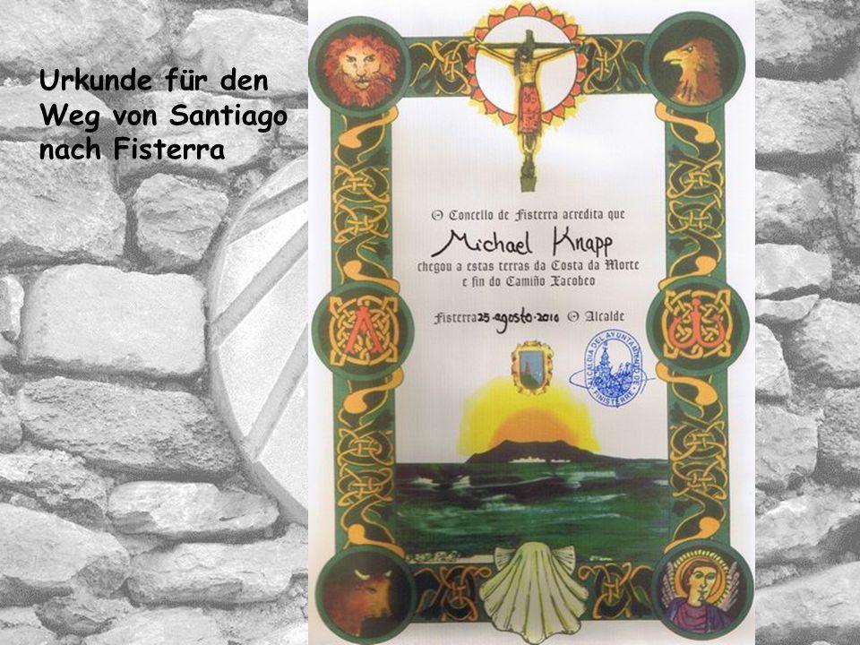 Urkunde für den Weg von Santiago nach Fisterra