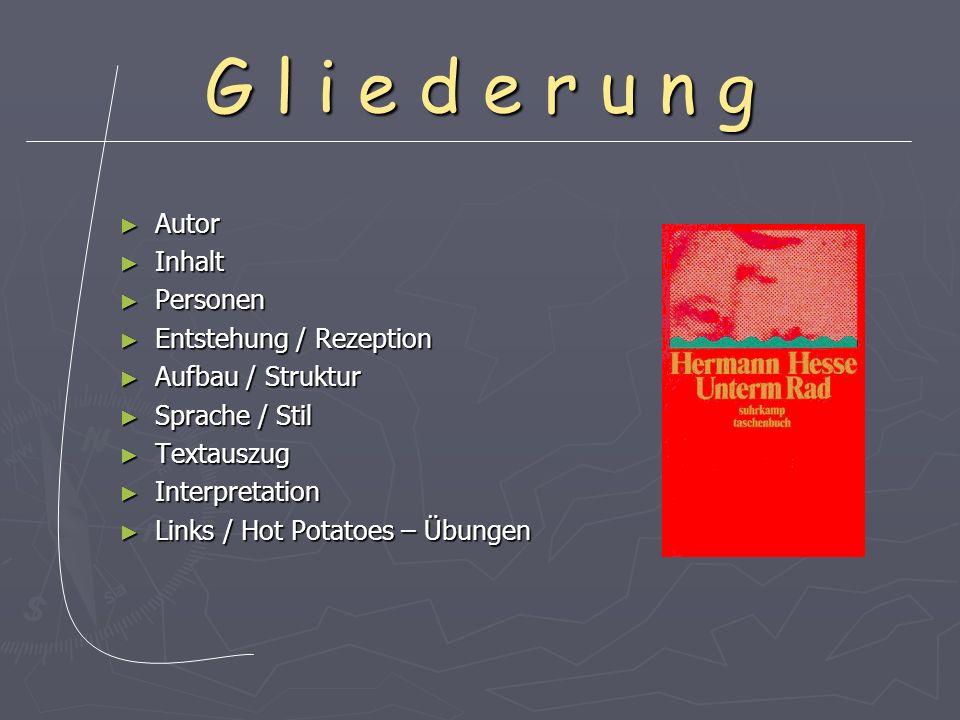 G l i e d e r u n g Autor Inhalt Personen Entstehung / Rezeption