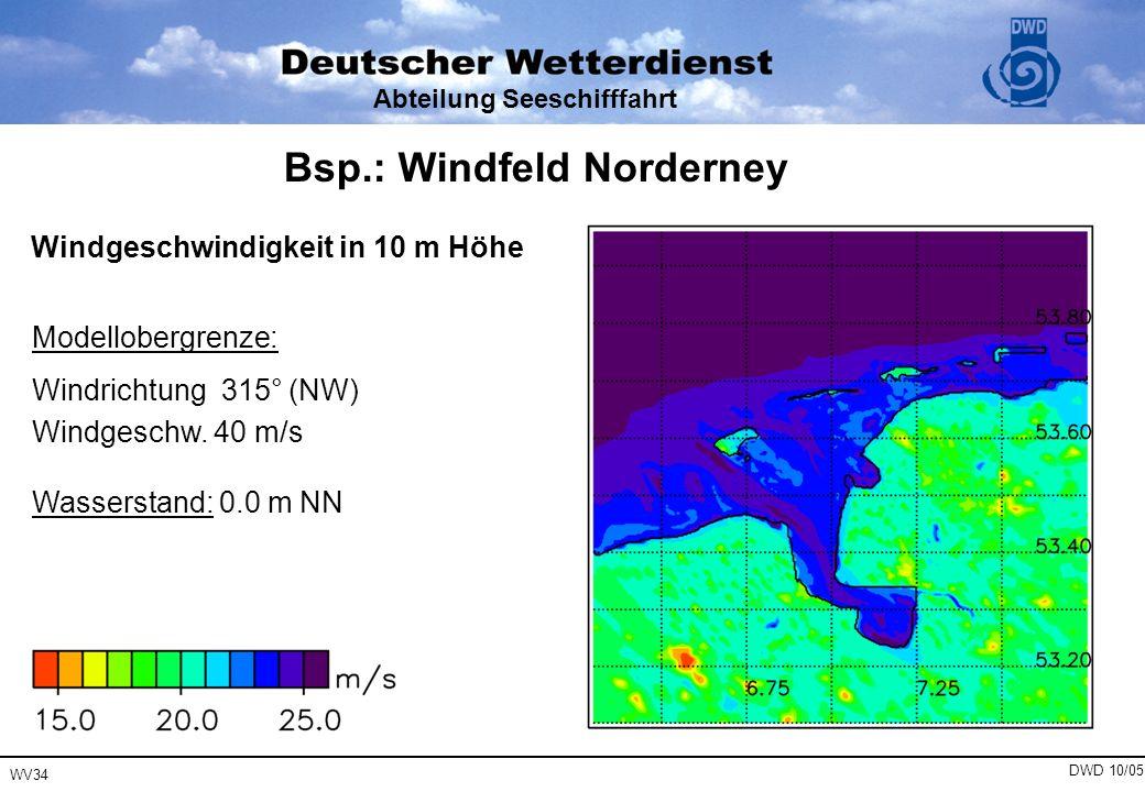 Abteilung Seeschifffahrt Windgeschwindigkeit in 10 m Höhe