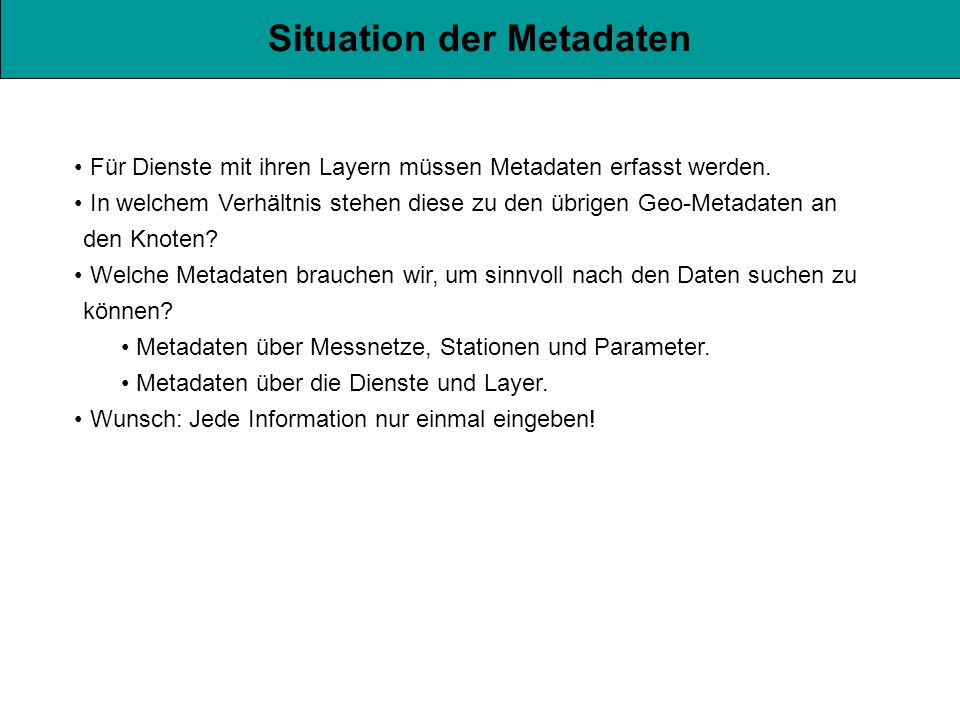 Situation der Metadaten