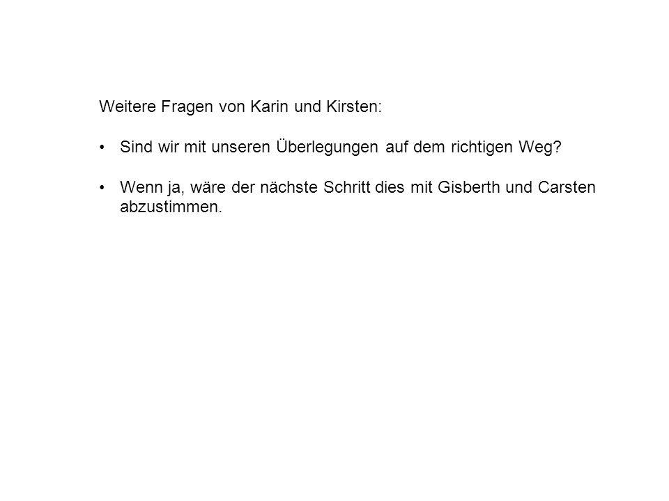 Weitere Fragen von Karin und Kirsten: