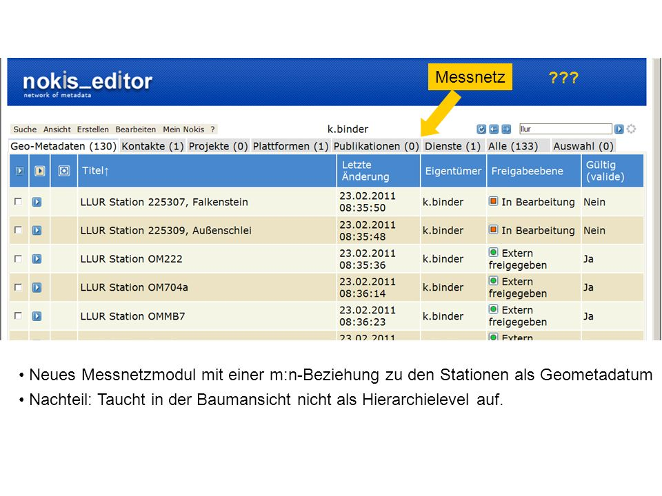 Messnetz Neues Messnetzmodul mit einer m:n-Beziehung zu den Stationen als Geometadatum.
