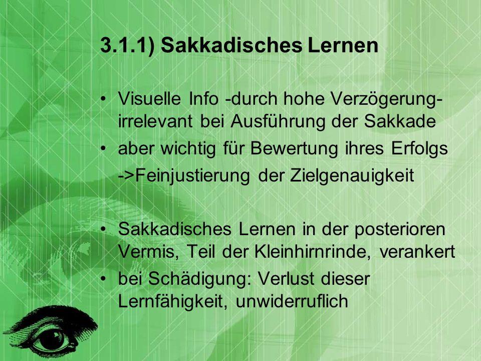 3.1.1) Sakkadisches Lernen Visuelle Info -durch hohe Verzögerung- irrelevant bei Ausführung der Sakkade.