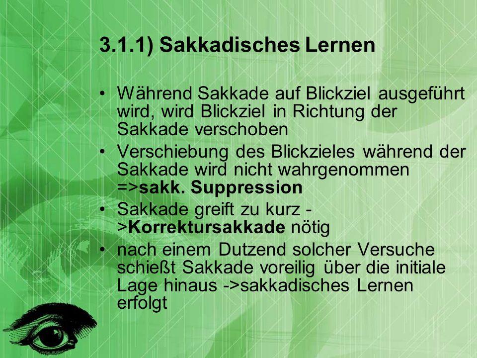 3.1.1) Sakkadisches Lernen Während Sakkade auf Blickziel ausgeführt wird, wird Blickziel in Richtung der Sakkade verschoben.