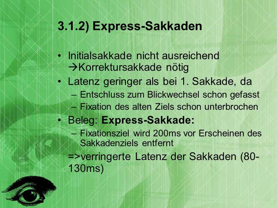 3.1.2) Express-Sakkaden Initialsakkade nicht ausreichend Korrektursakkade nötig. Latenz geringer als bei 1. Sakkade, da.