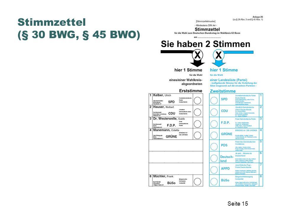 Stimmzettel (§ 30 BWG, § 45 BWO)