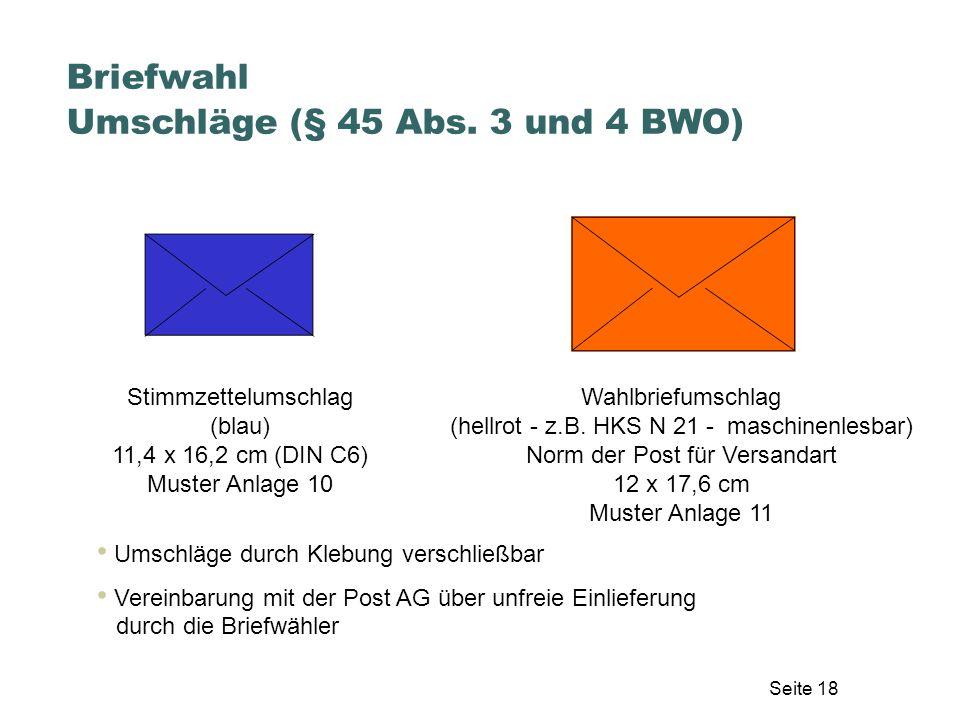 Stimmzettelumschlag (blau) 11,4 x 16,2 cm (DIN C6) Muster Anlage 10