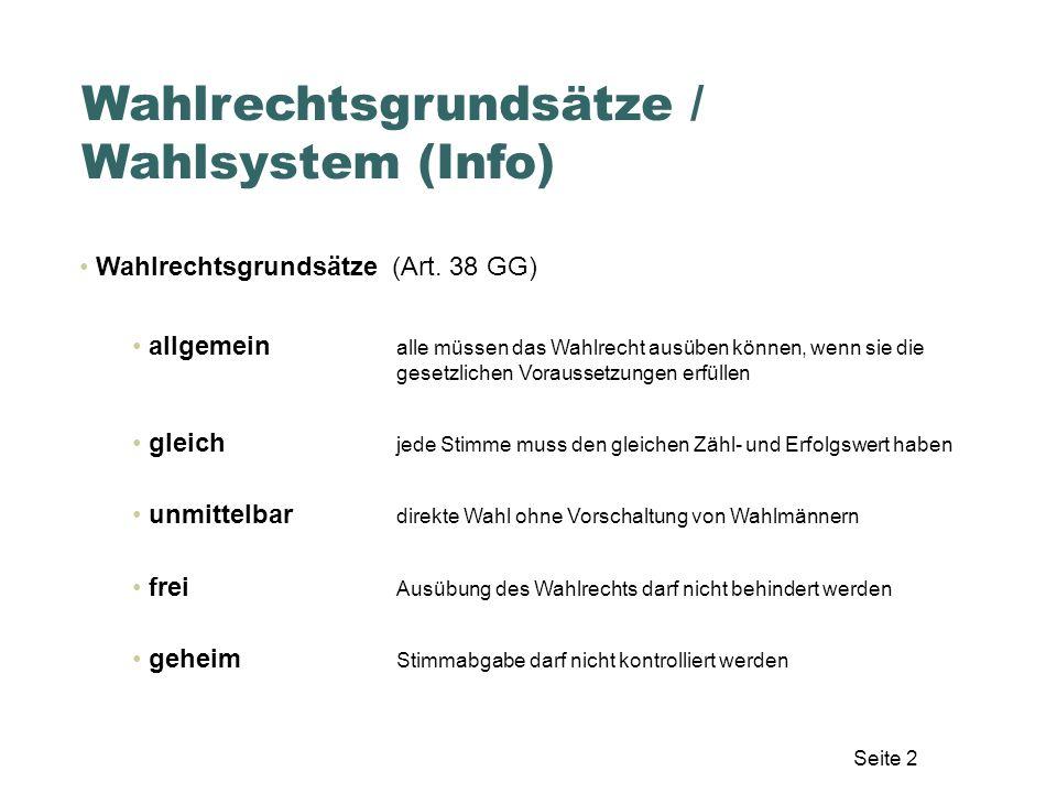 Wahlrechtsgrundsätze / Wahlsystem (Info)