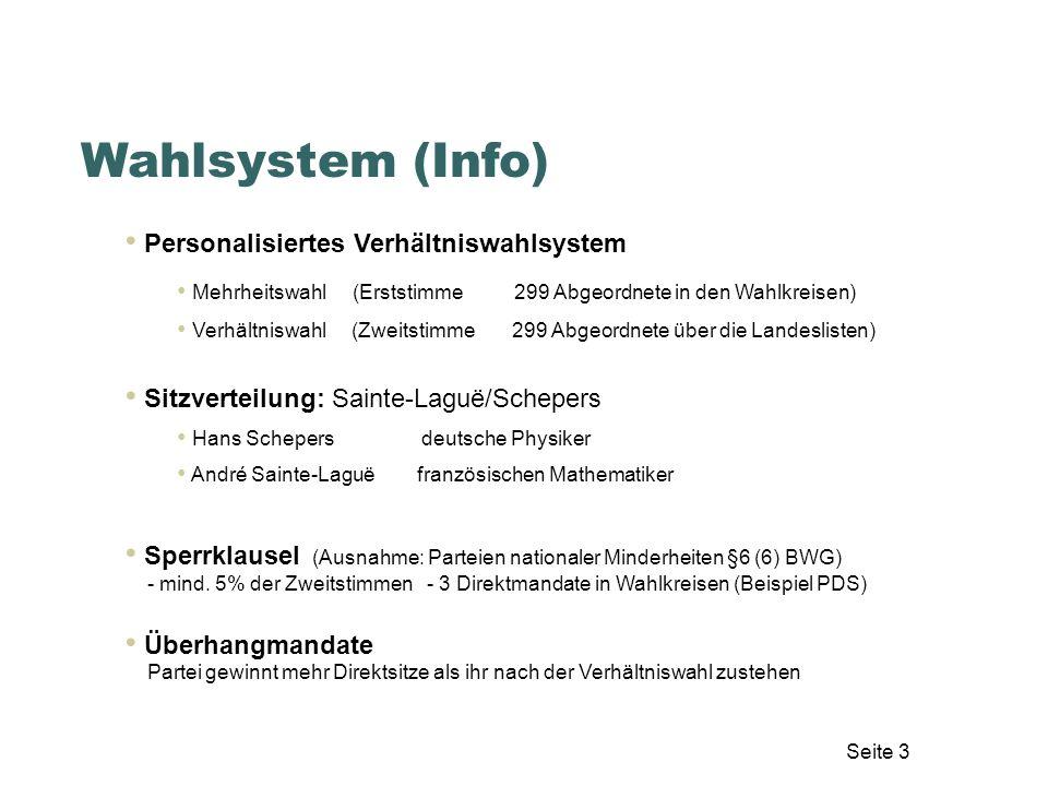 Wahlsystem (Info) Personalisiertes Verhältniswahlsystem