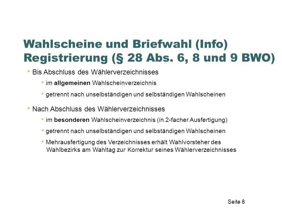 Wahlscheine und Briefwahl (Info) Registrierung (§ 28 Abs