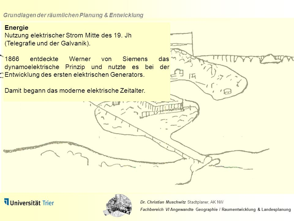 Energie Nutzung elektrischer Strom Mitte des 19. Jh. (Telegrafie und der Galvanik).