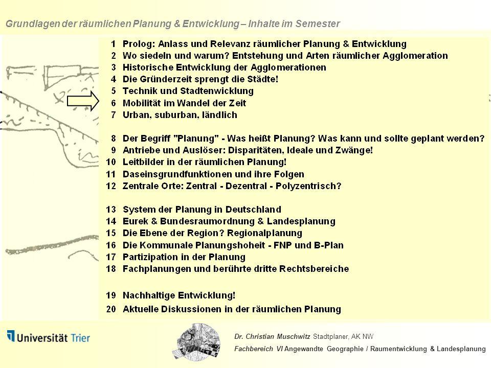 Grundlagen der räumlichen Planung & Entwicklung – Inhalte im Semester