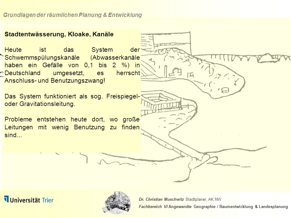 Stadtentwässerung, Kloake, Kanäle