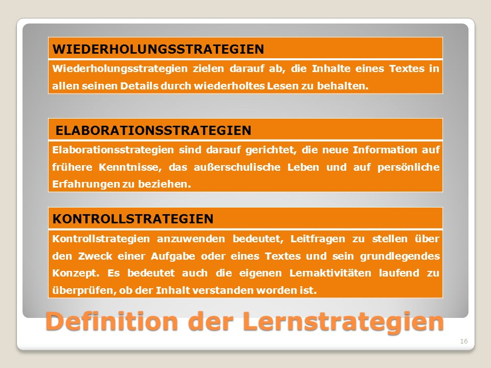 Definition der Lernstrategien