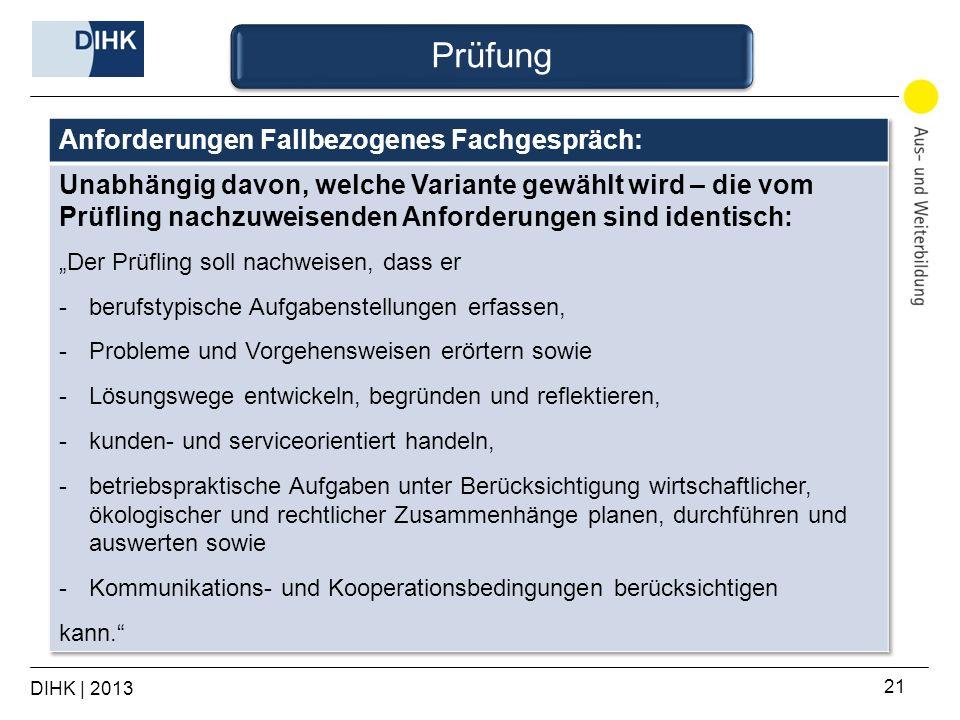 Prüfung Anforderungen Fallbezogenes Fachgespräch: