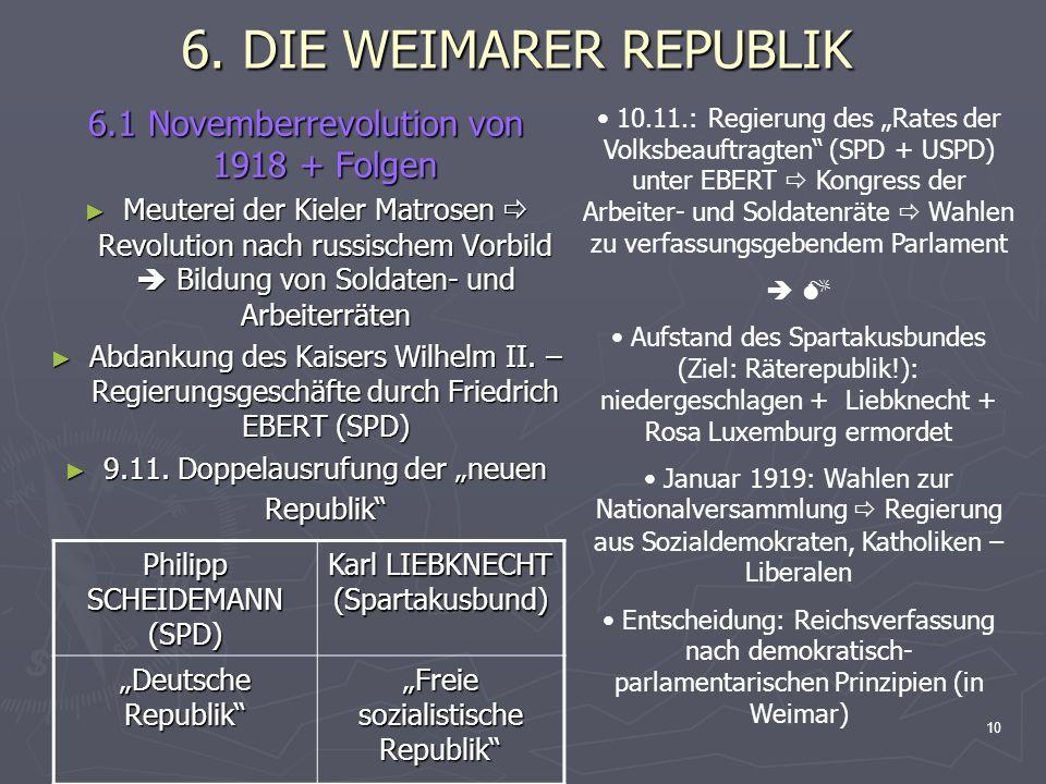 6. DIE WEIMARER REPUBLIK 6.1 Novemberrevolution von 1918 + Folgen