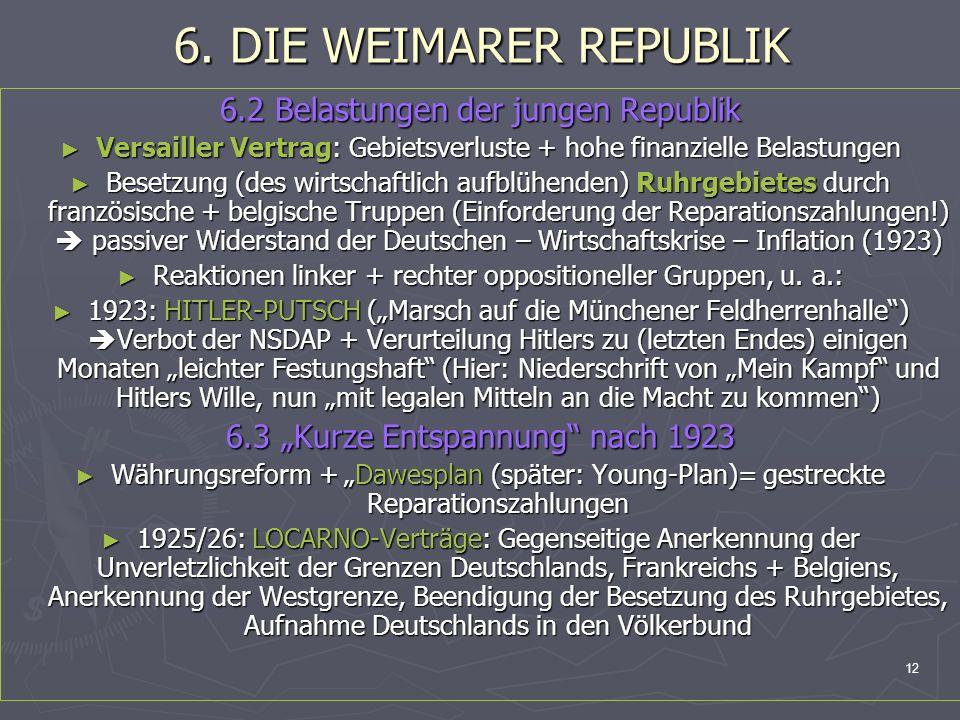 6. DIE WEIMARER REPUBLIK 6.2 Belastungen der jungen Republik