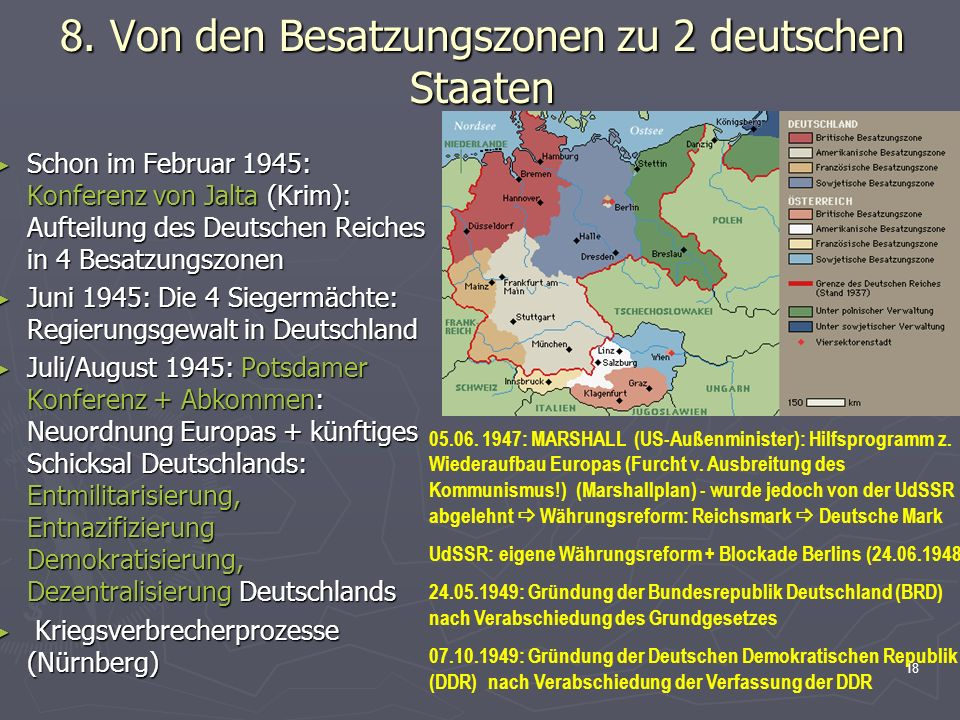 8. Von den Besatzungszonen zu 2 deutschen Staaten
