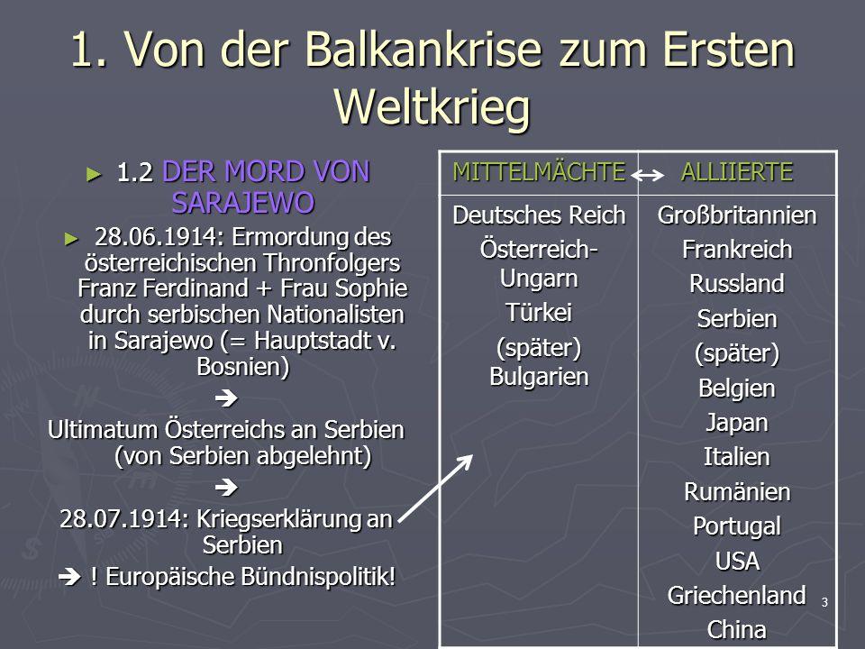 1. Von der Balkankrise zum Ersten Weltkrieg