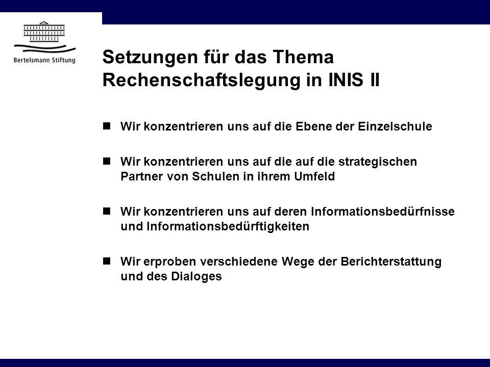 Setzungen für das Thema Rechenschaftslegung in INIS II