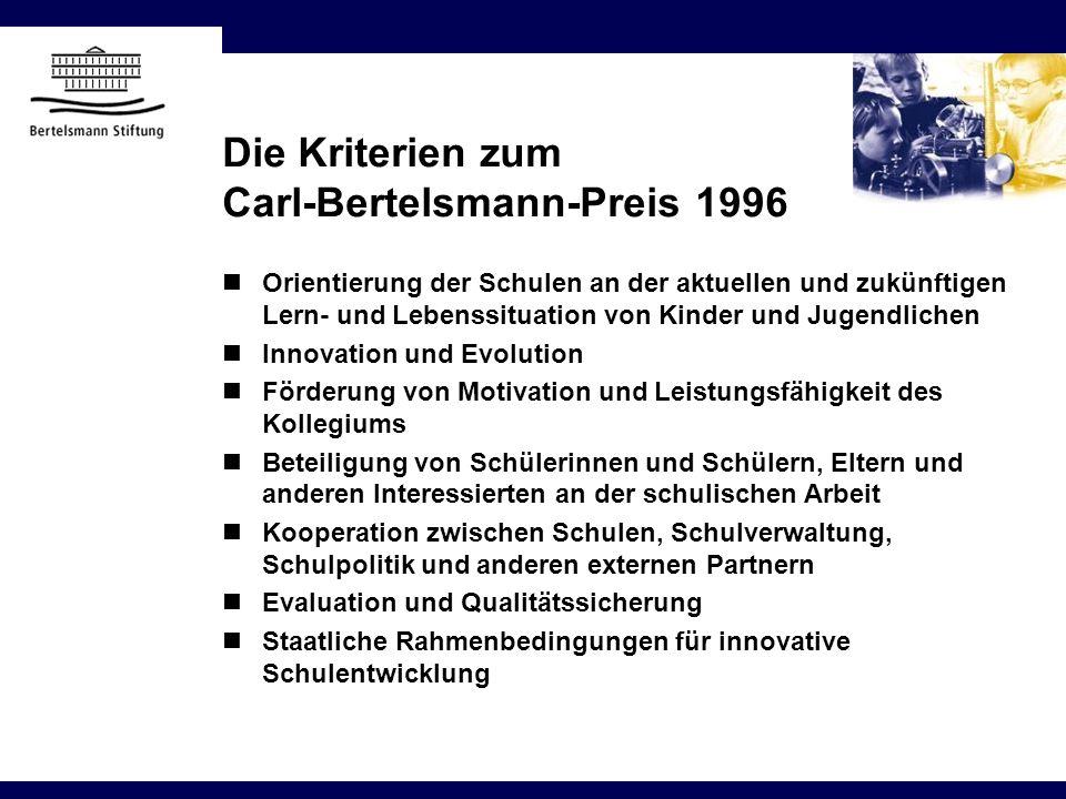 Die Kriterien zum Carl-Bertelsmann-Preis 1996