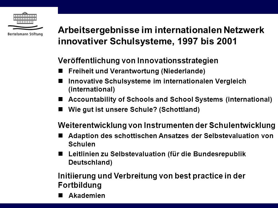 Arbeitsergebnisse im internationalen Netzwerk innovativer Schulsysteme, 1997 bis 2001