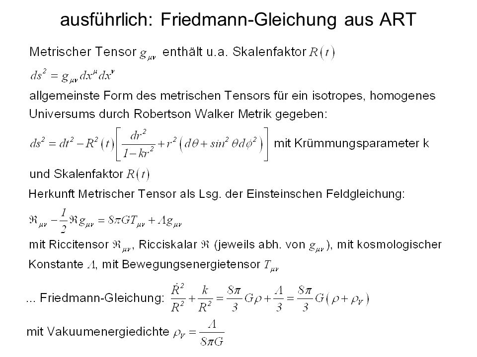 ausführlich: Friedmann-Gleichung aus ART