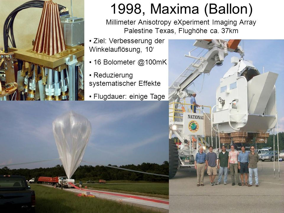 1998, Maxima (Ballon) Millimeter Anisotropy eXperiment Imaging Array Palestine Texas, Flughöhe ca. 37km