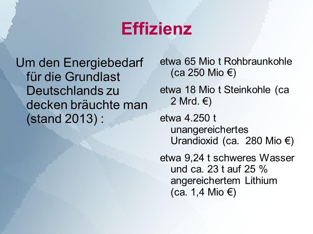 Effizienz Um den Energiebedarf für die Grundlast Deutschlands zu decken bräuchte man (stand 2013) :