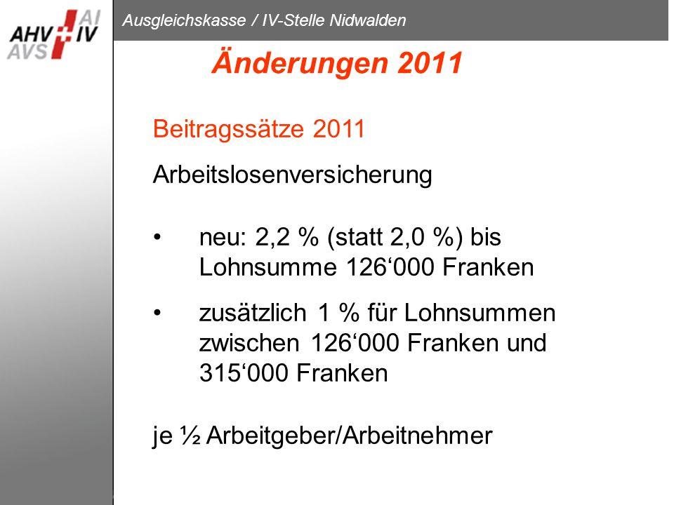 Änderungen 2011 Beitragssätze 2011 Arbeitslosenversicherung