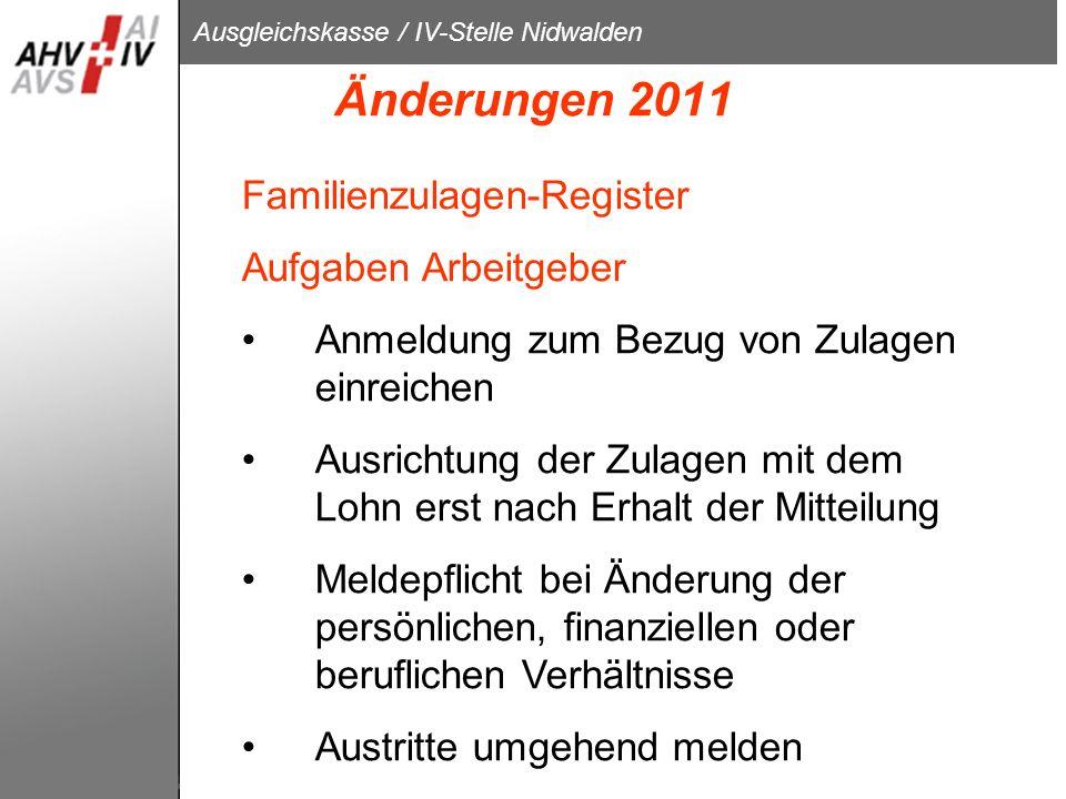 Änderungen 2011 Familienzulagen-Register Aufgaben Arbeitgeber