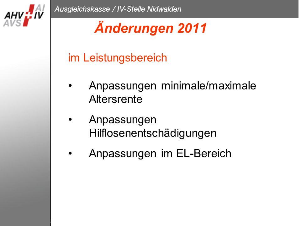 Änderungen 2011 im Leistungsbereich