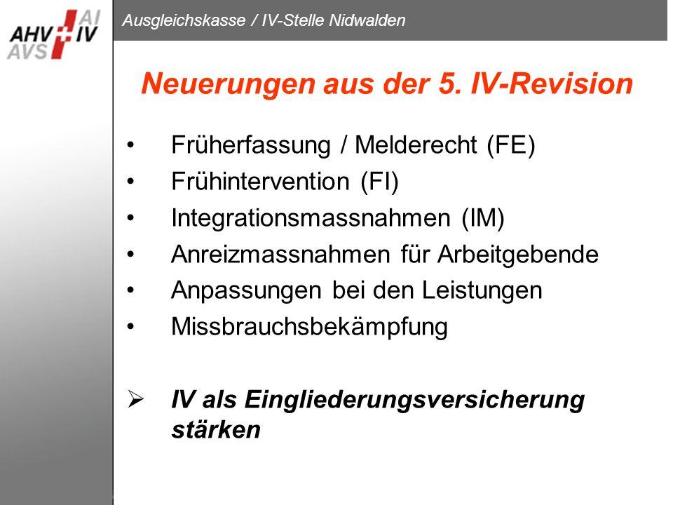 Neuerungen aus der 5. IV-Revision