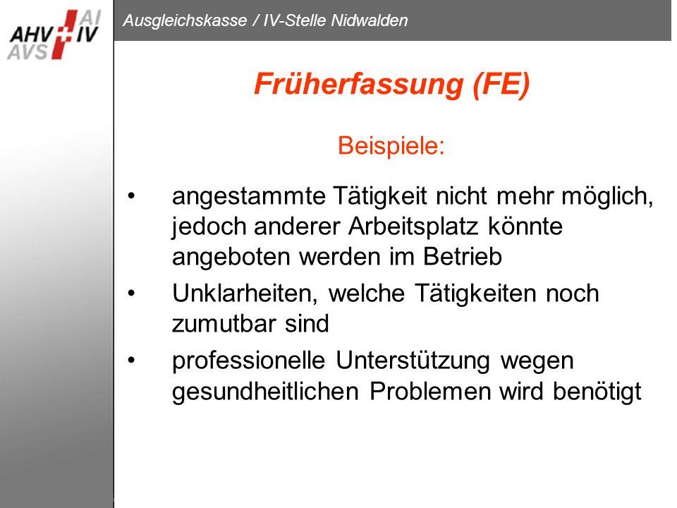 Früherfassung (FE) Beispiele: