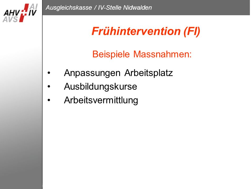 Frühintervention (FI)