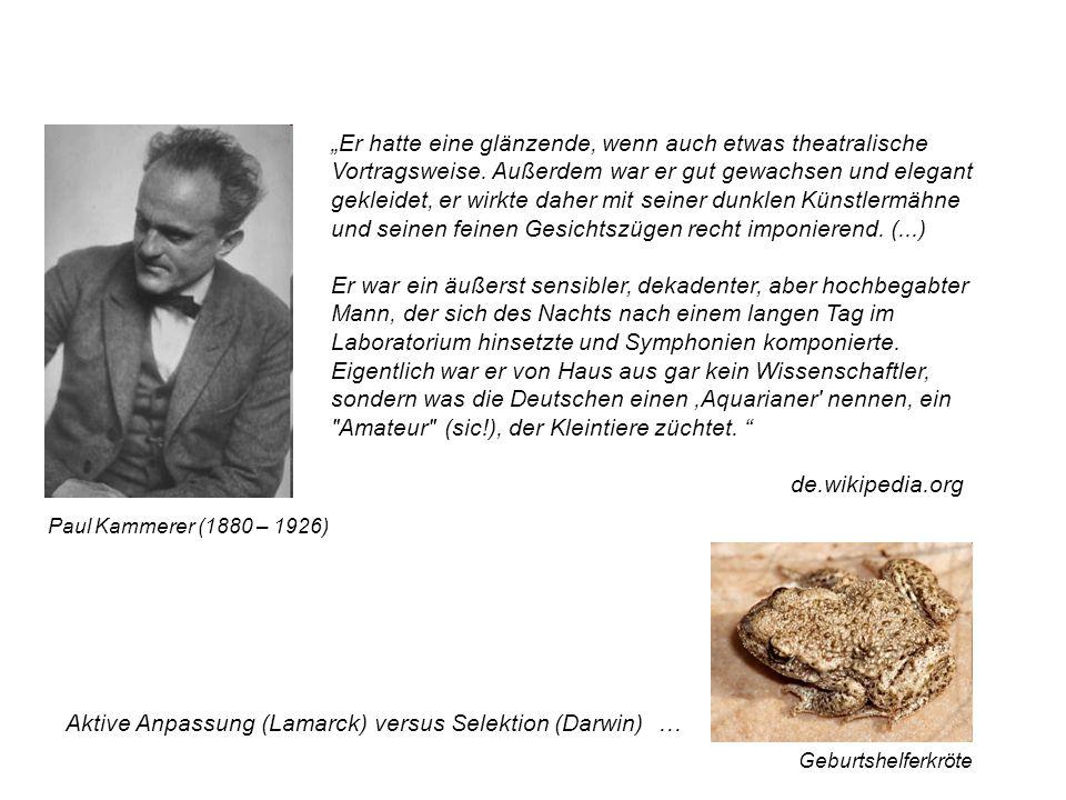 Aktive Anpassung (Lamarck) versus Selektion (Darwin) …