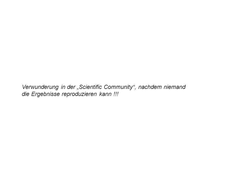 """Verwunderung in der """"Scientific Community , nachdem niemand die Ergebnisse reproduzieren kann !!!"""