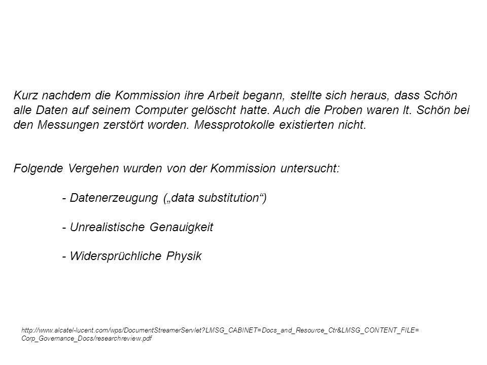 Folgende Vergehen wurden von der Kommission untersucht:
