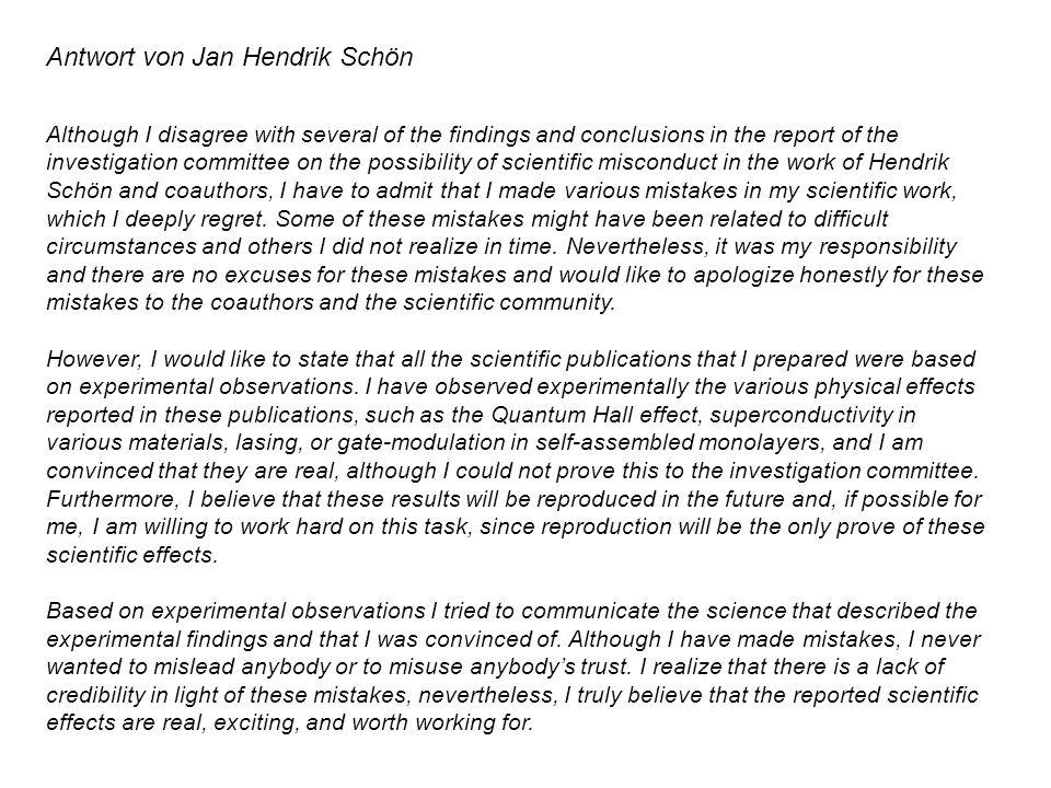 Antwort von Jan Hendrik Schön