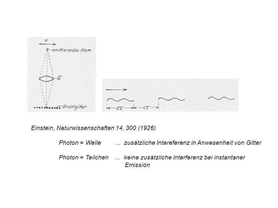 Einstein, Naturwissenschaften 14, 300 (1926)