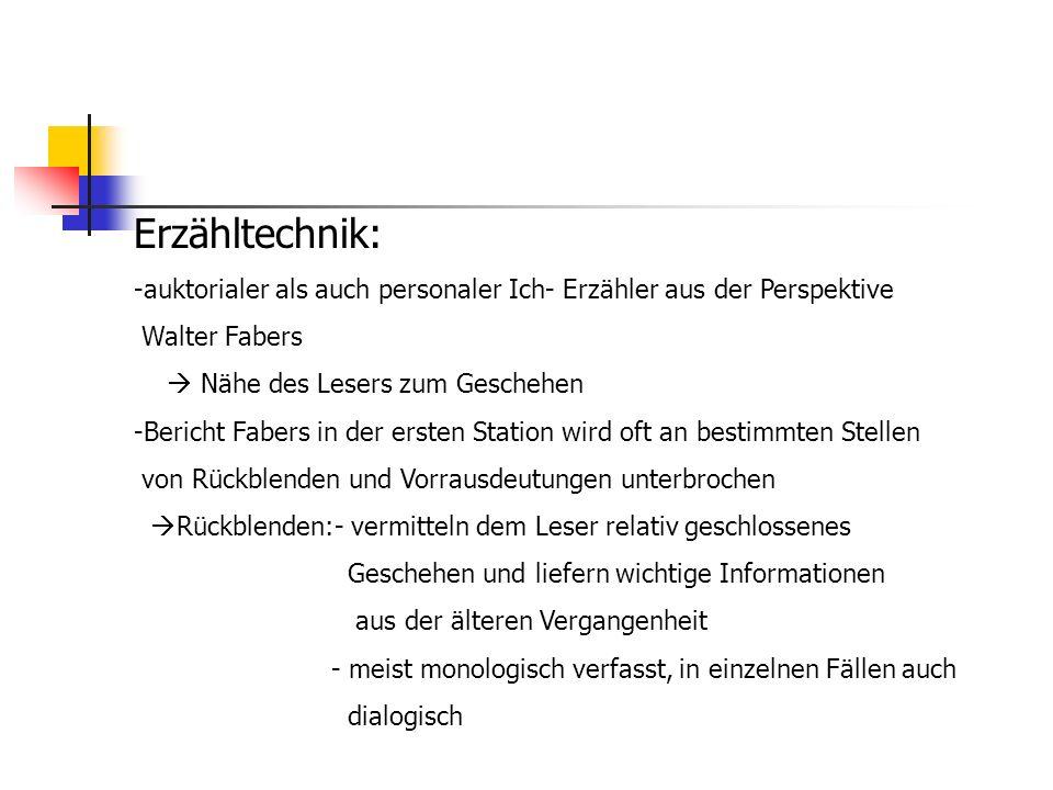 Erzähltechnik: auktorialer als auch personaler Ich- Erzähler aus der Perspektive. Walter Fabers.  Nähe des Lesers zum Geschehen.