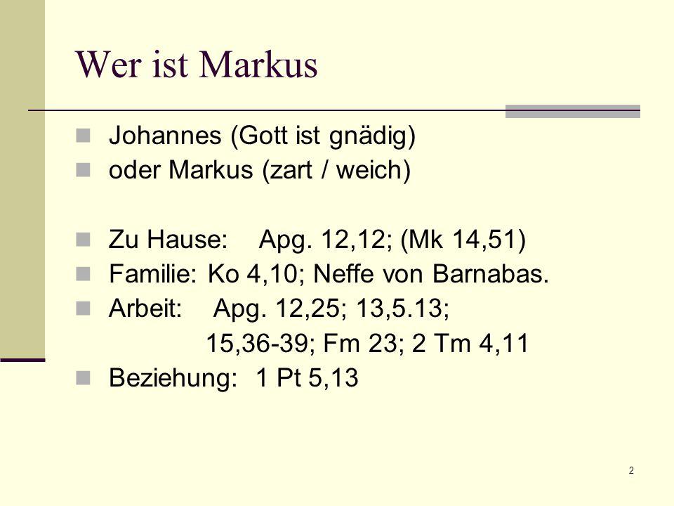Wer ist Markus Johannes (Gott ist gnädig) oder Markus (zart / weich)
