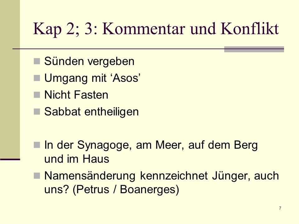 Kap 2; 3: Kommentar und Konflikt
