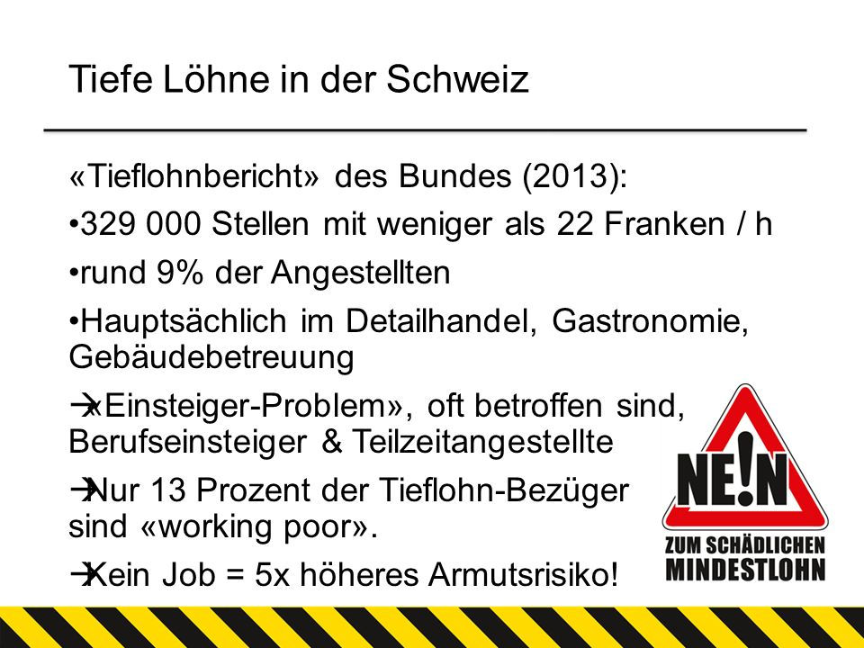 Tiefe Löhne in der Schweiz