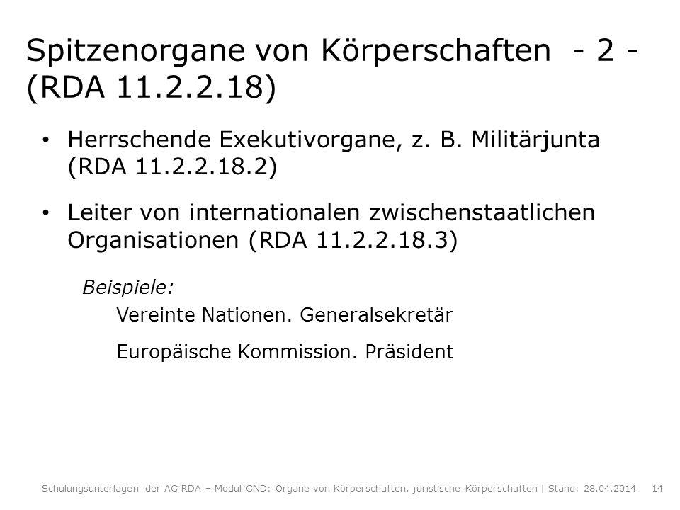 Spitzenorgane von Körperschaften - 2 - (RDA 11.2.2.18)