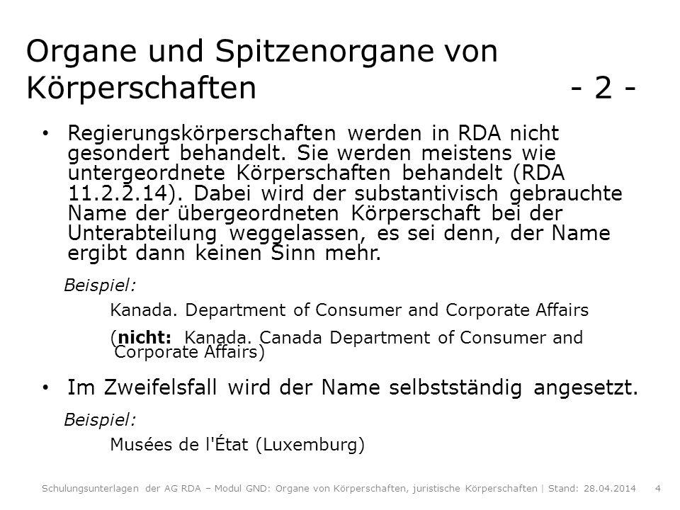 Organe und Spitzenorgane von Körperschaften - 2 -